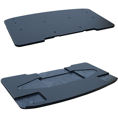 "Bracket fabricated from 1"" hdpe sheet"